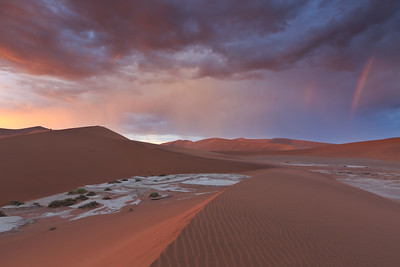 Sossusvlei sunrise with rainbow