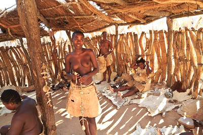 Work center where Damara women create crafts for sale
