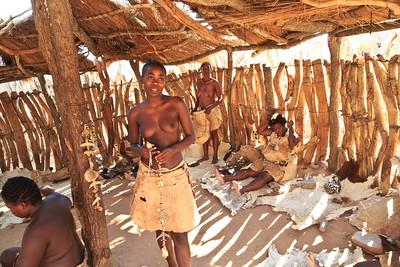 Work center where Damara women create crafts for sale