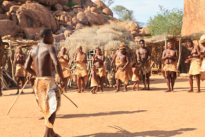 Damara people perfoming song and dance