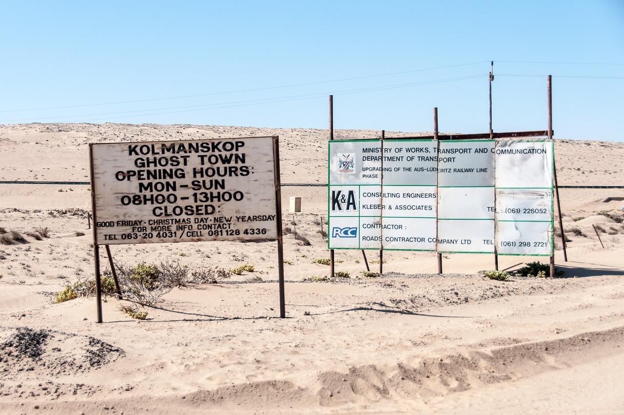 Sign to Kolmanskop in Luderitz, Namibia