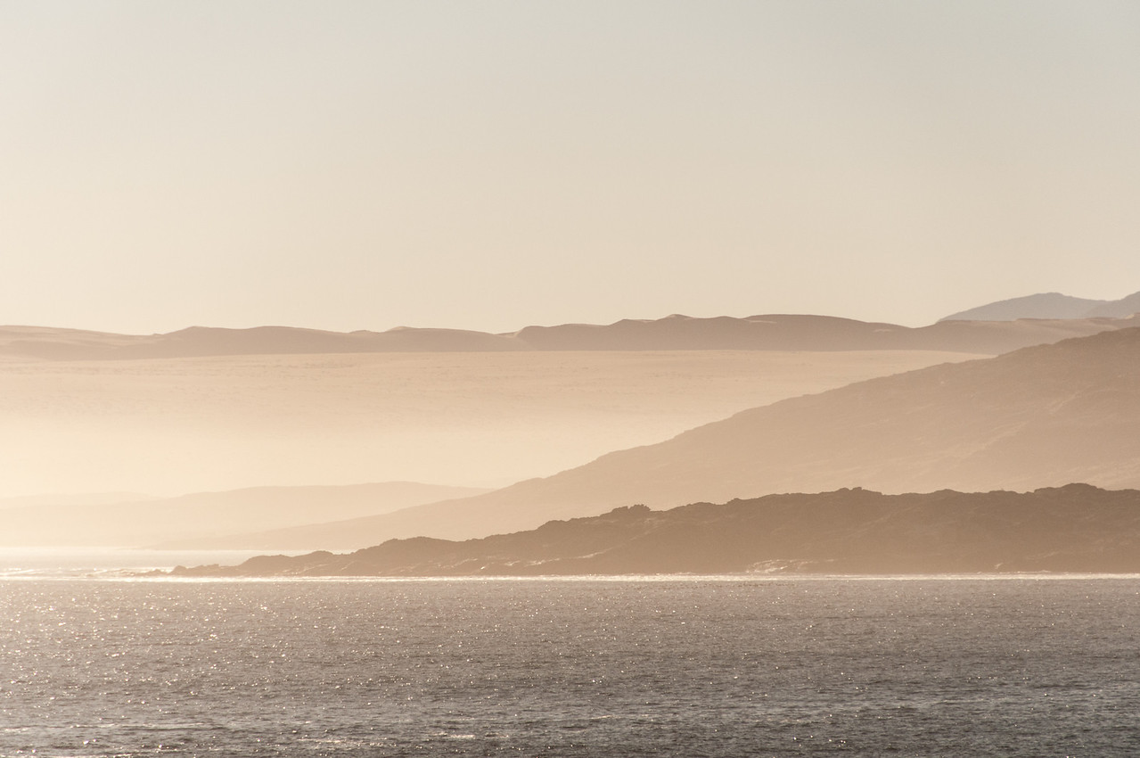 View of mountains from ship in Luderitz, Namibia