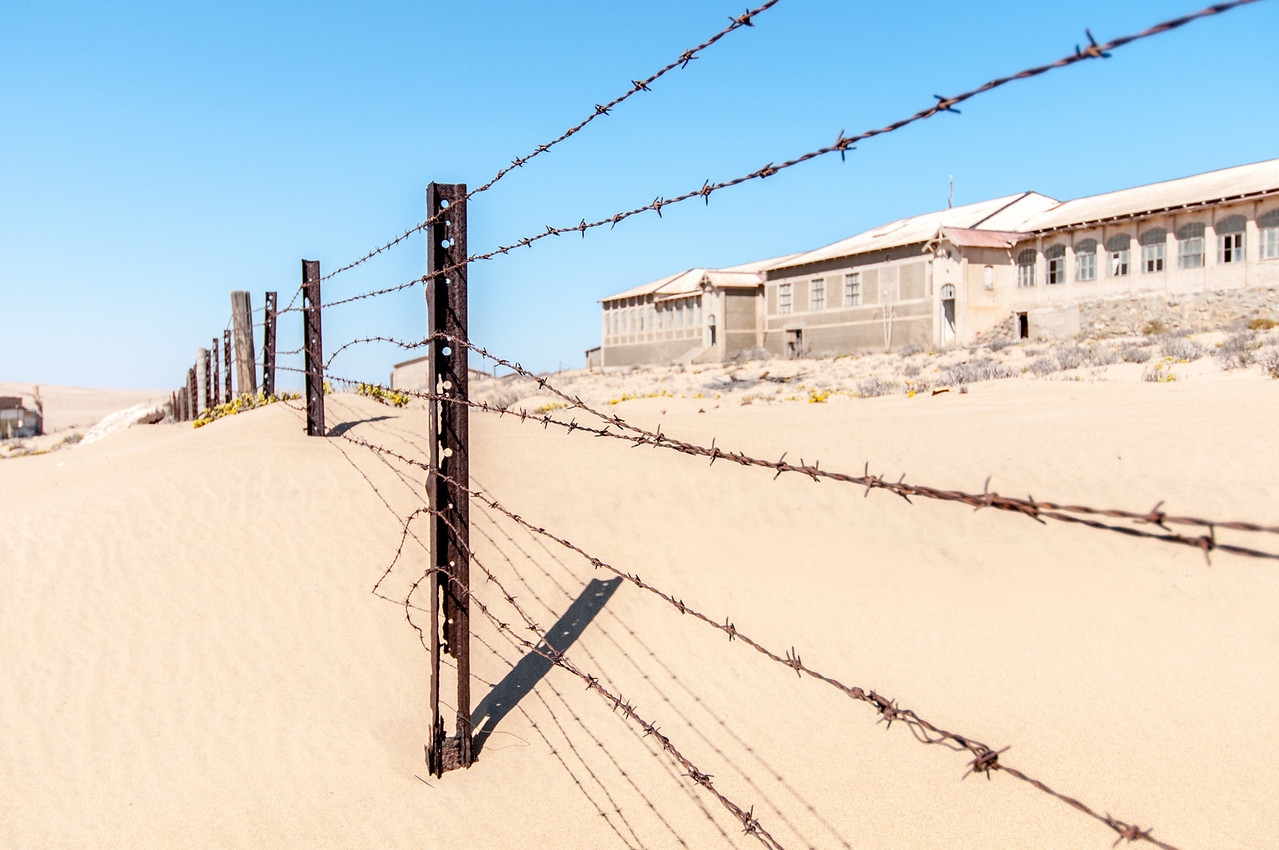 Barb wire fencing at Kolmanskopf in Luderitz, Namibia