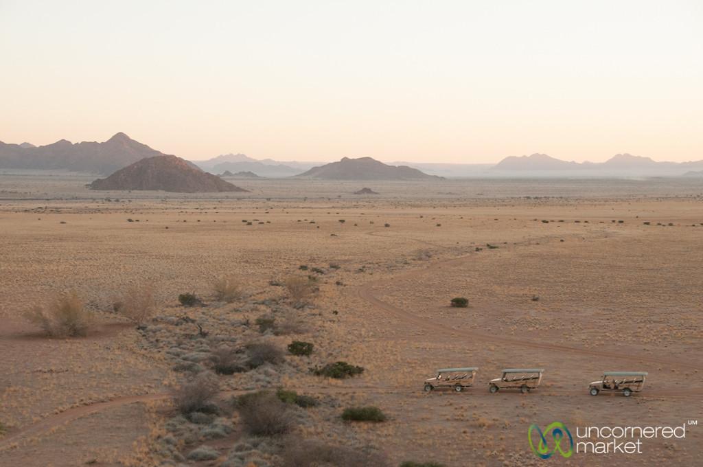Jeeps Lined Up for Sundowner - Sossuslvei Lodge, Namibia