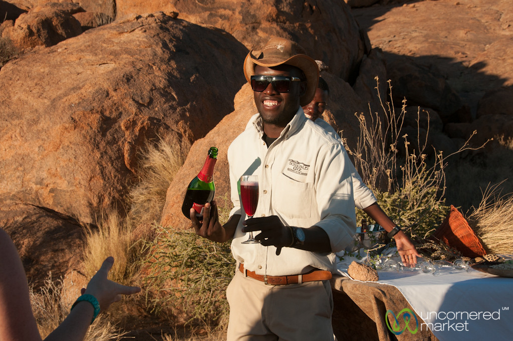 Champagne at Sundowner - Sossuslvei Lodge, Namibia