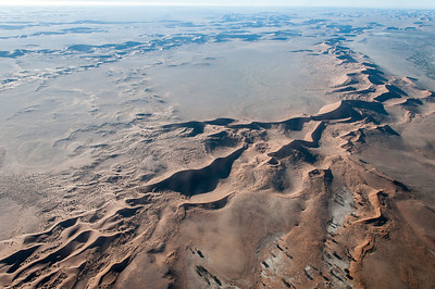 Aerial view of the sand dunes at Namib Desert, Namibia
