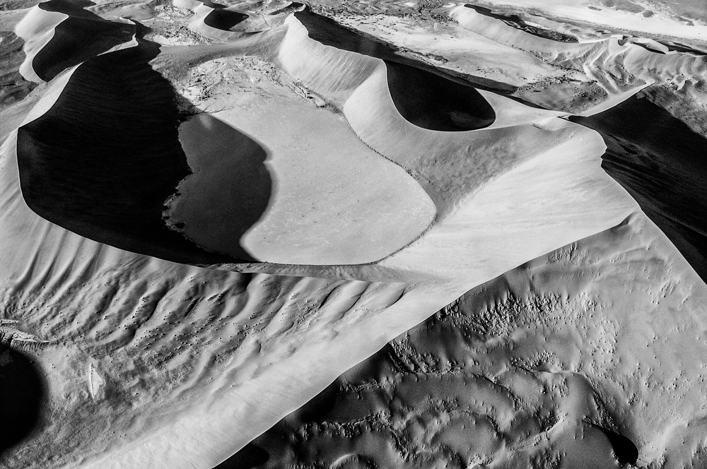 Aerial View of Sand Dunes in the Namib Desert