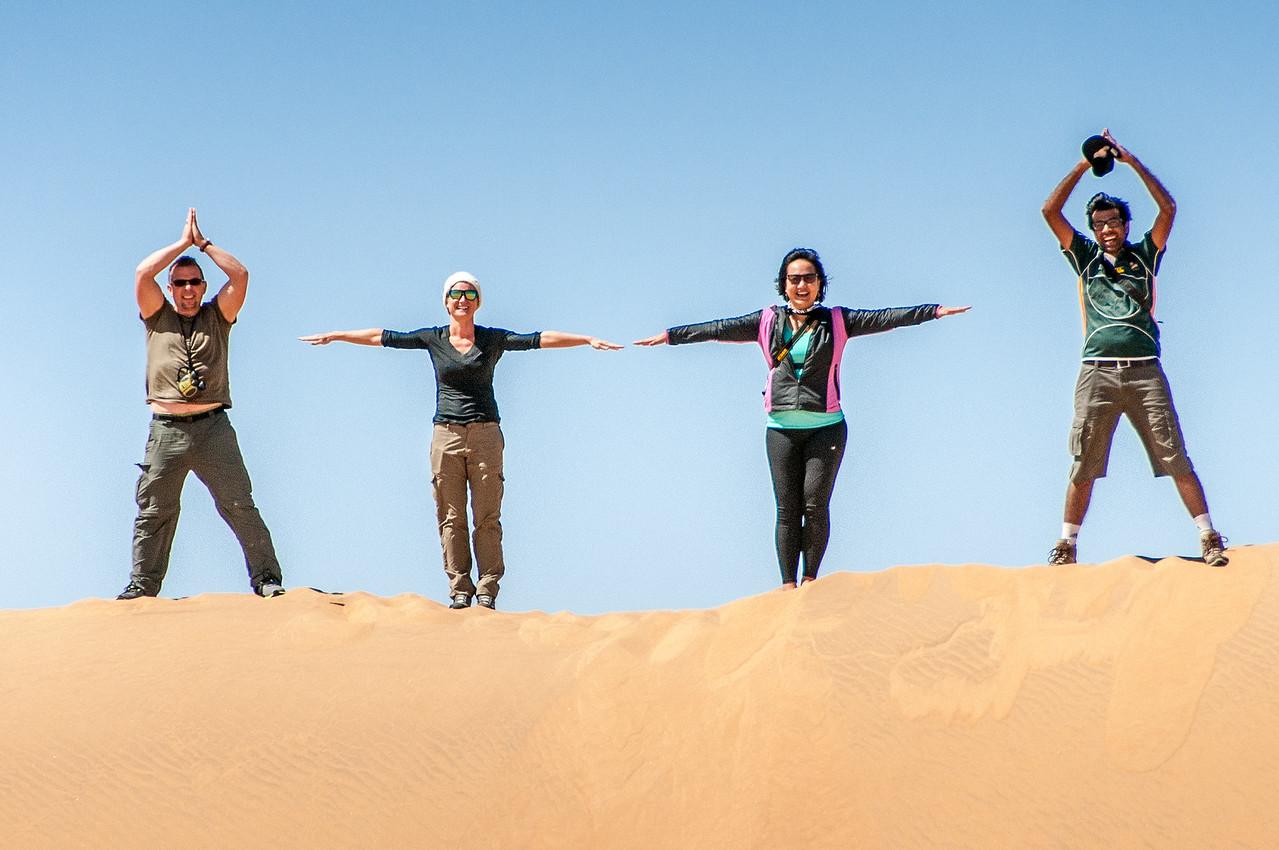 Having fun at the sand dunes of Namib Desert, Namibia