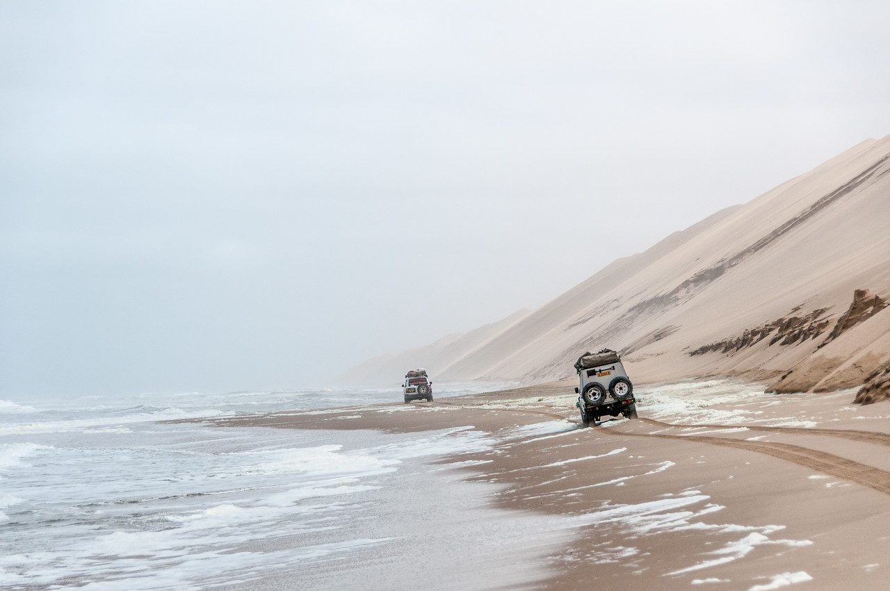 Driving along the Skeleton Coast in Namib Desert, Namibia