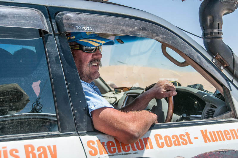Driving along the Skeleton Coast in Namib Desert