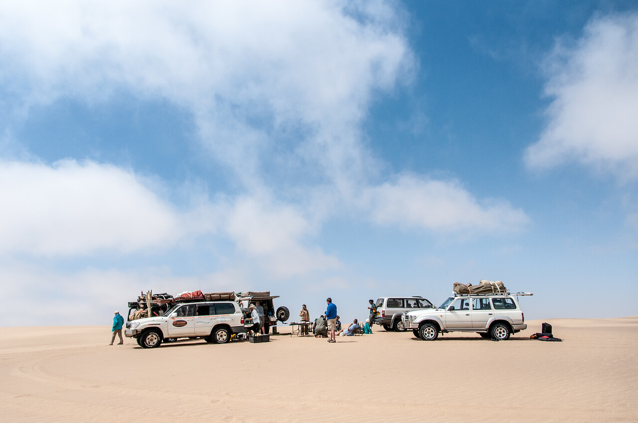 Vehicles at Namib Desert in Namibia