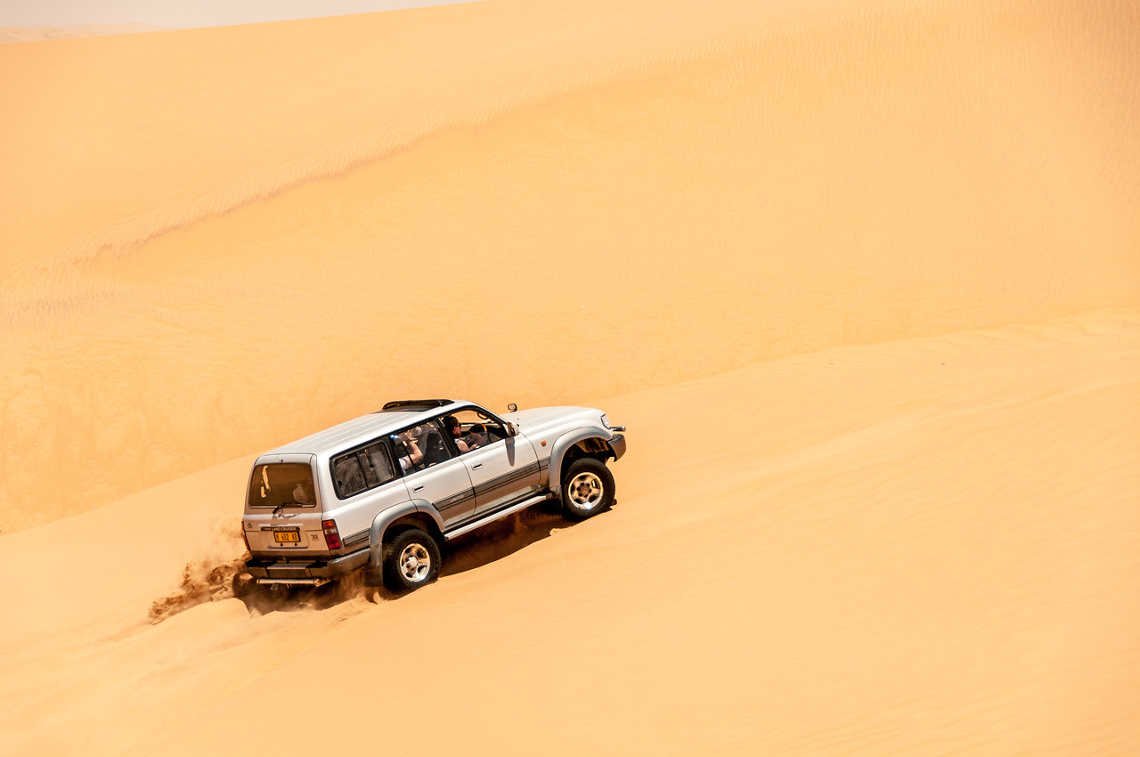 Driving through the sand dunes in Namib Desert