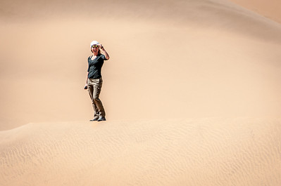 Playing around the sand dunes of Namib Desert