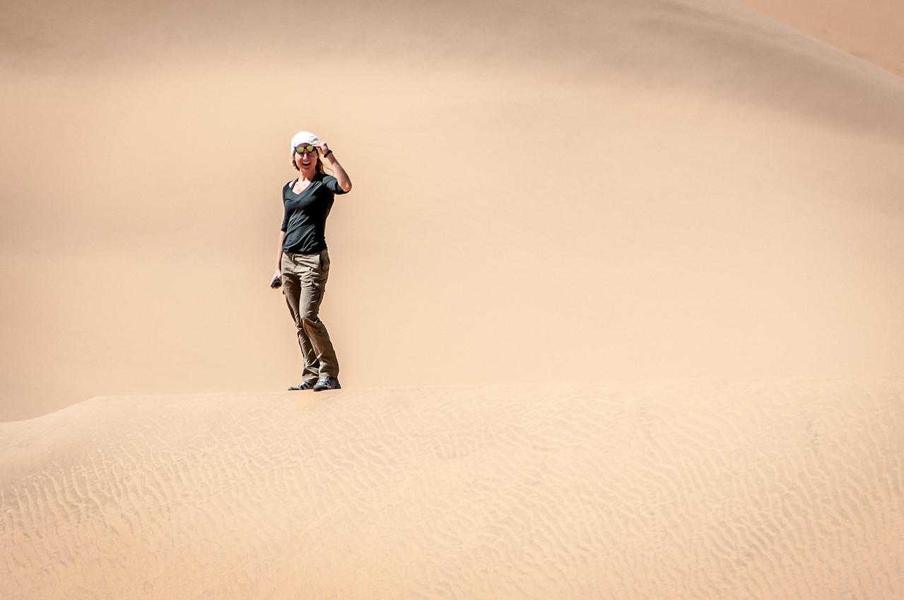 Playing around the sand dunes of Namib Desert