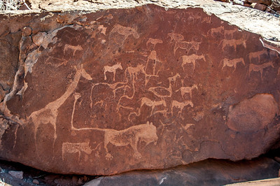 Heiroglyphs on the rocks in Namib Desert, Namibia