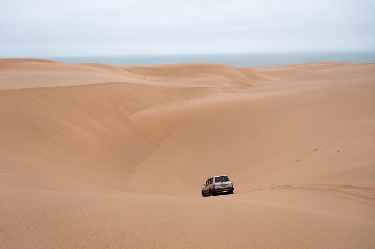 Driving through the sand dunes in Namib Desert