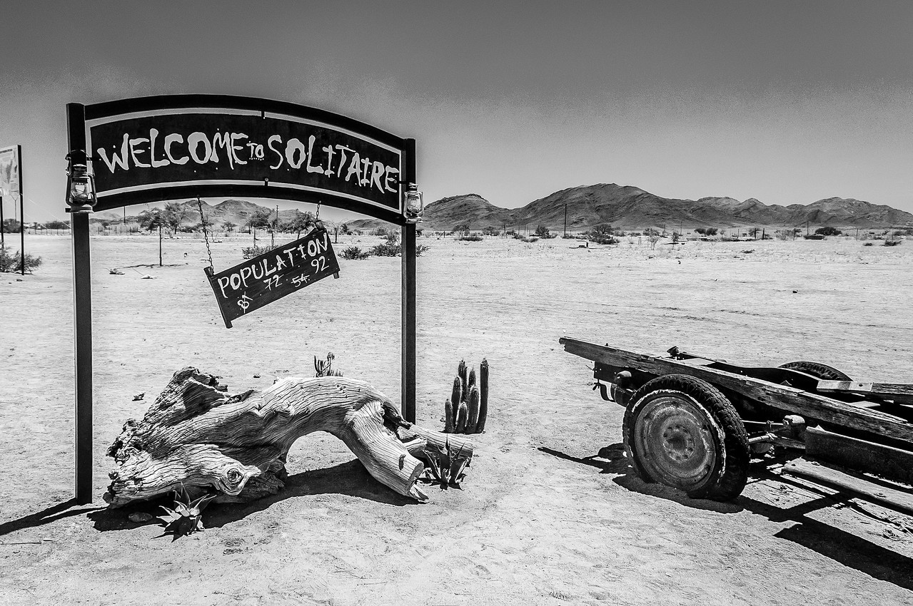 Welcome sign at Solitaire, Namibia