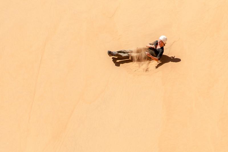 Sliding through the sand dunes of Namib Desert