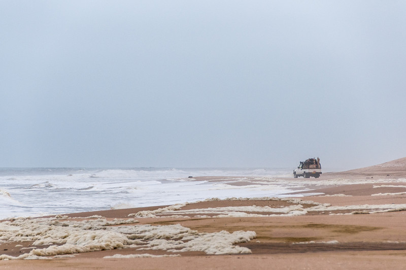 Driving along Skeleton Coast in Namib Desert