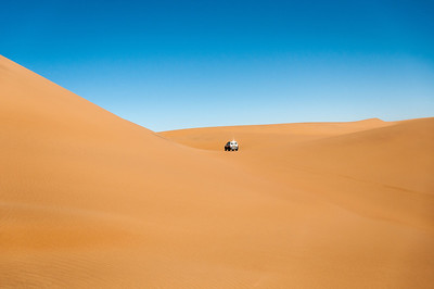 Driving along the sand dunes of Namib Desert