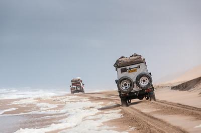 Driving along the Skeleton Coast in Namib Desert, Namibia