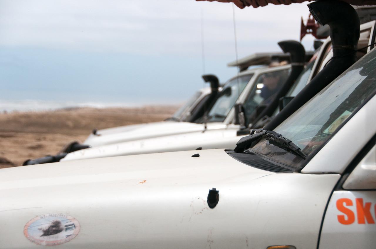 Vehicles at the Namib Desert