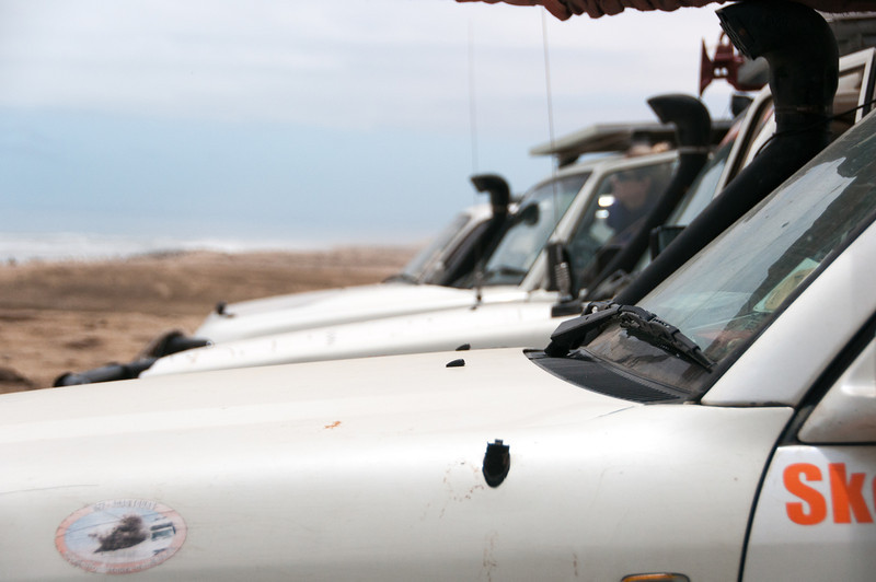Vehicles at the Namib Desert