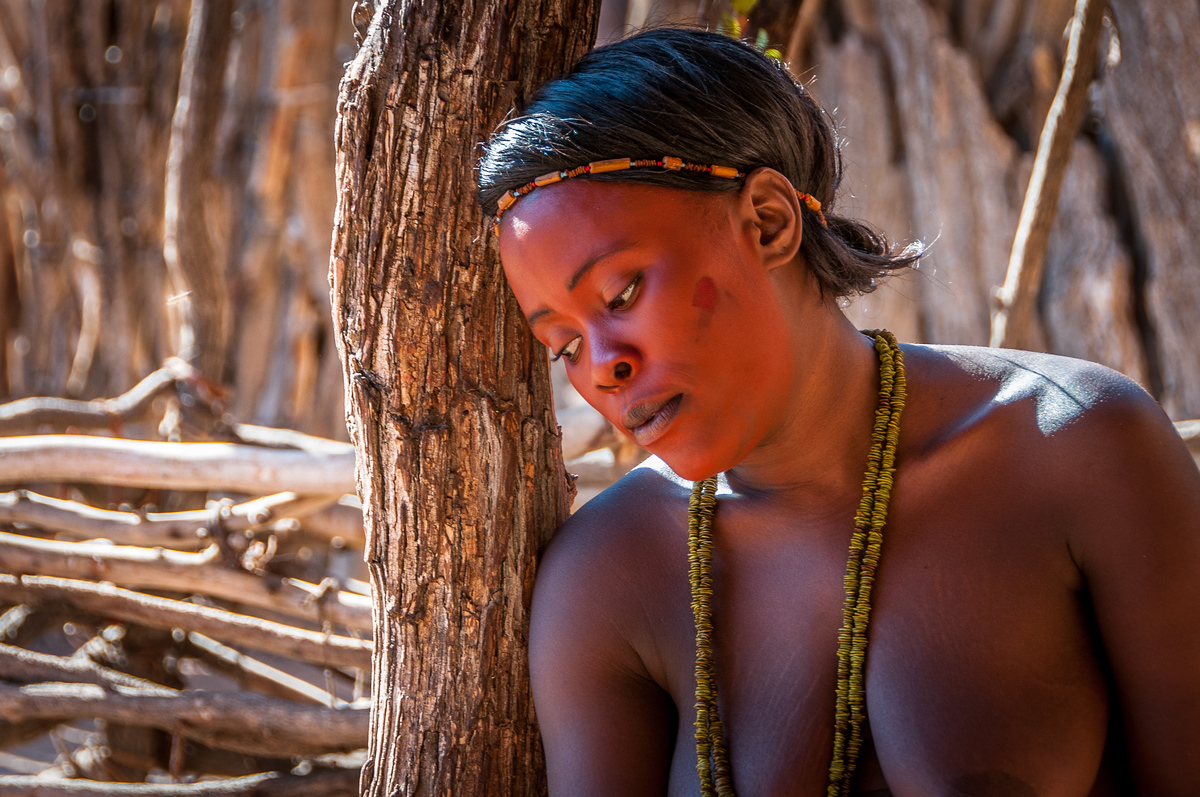 Damara woman wearing ocher face makeup