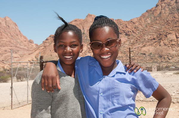 Sporting the Sunglasses, Namibian School Girls - Spitzkoppe, Namibia