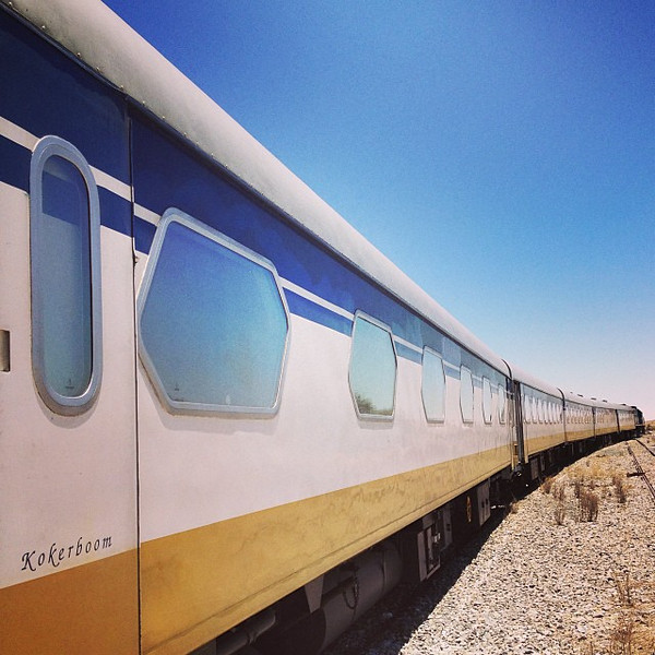Trains in Namibia, who knew? This shot, the Desert Express, a leisurely roll from Windhoek to Swakopmund.