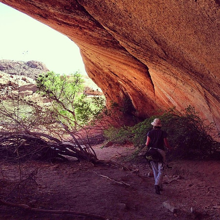 Boulders overhead, in the land of cave paintings. Bushman Paradise, Spitzkoppe, Namibia.