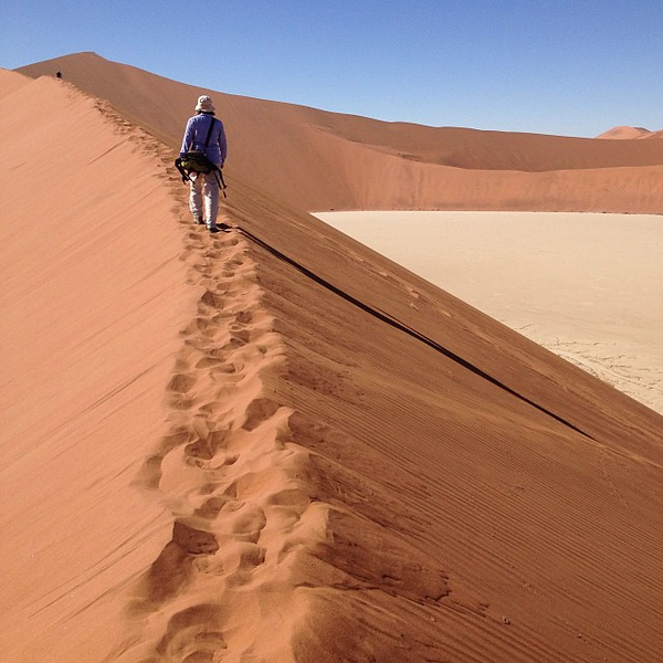 Audrey scales Big Daddy Dune. Today's #nofilter WYSIWYG special from Namib Naukluft Park, #Namibia