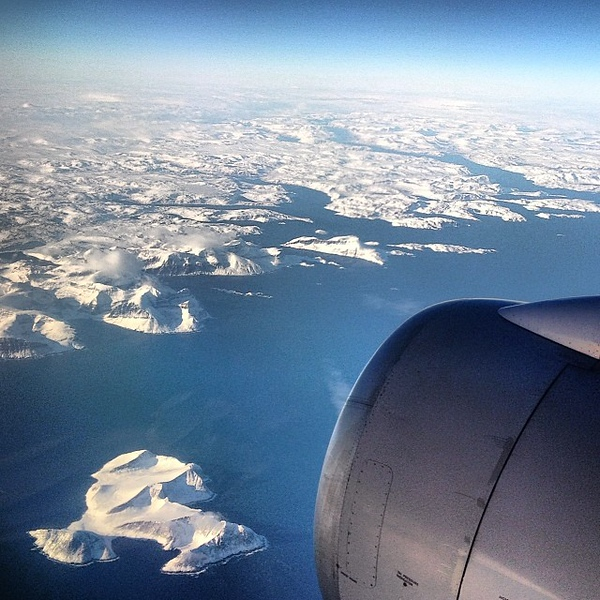 Up in the air, approaching Labrador from the east. Our Earth blows me away, often.