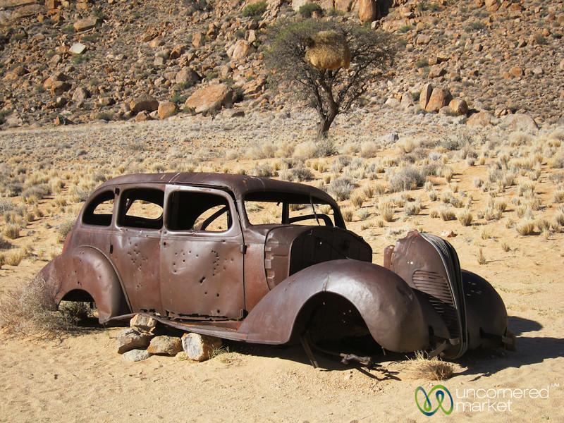 Old Car, Bullet Hole - Aus, Namibia