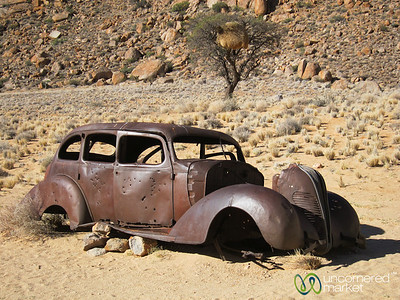 Old Car, Bullet Hole - Aus, Namibia