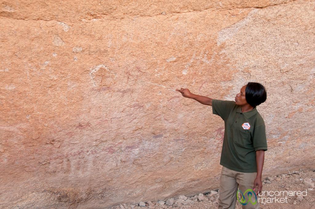 Bushman Cave Paintings, Explaining Meaning - Bushman Paradise, Namibia