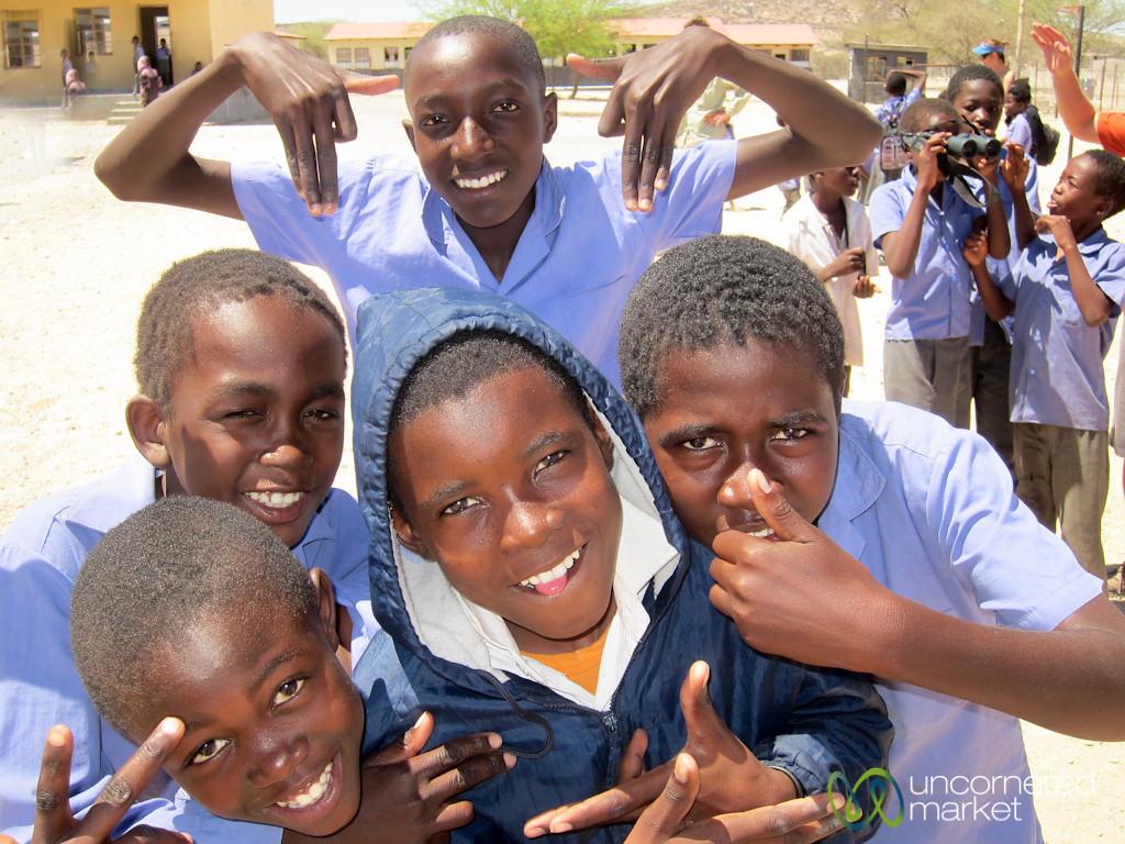 Boys Goofing Off at School - Spitzkoppe, Namibia