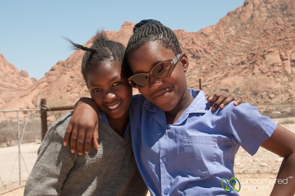 Namibian School Girls Sporting Audrey's Sunglasses - Spitzkoppe School, Namibia