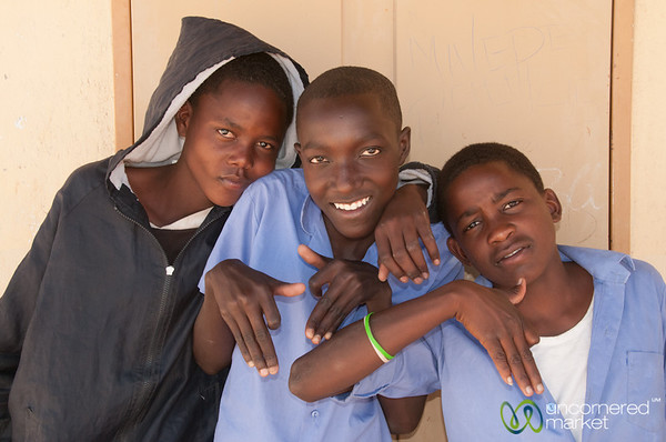 Namibian School Boys , Goofing Around - Spitzkoppe, Namibia