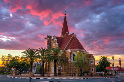 Dramatic sunset above Christchurch, Windhoek, Namibia