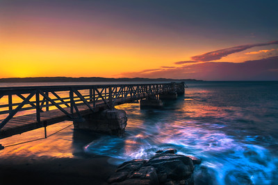 Pier in the harbour town of Luderitz at sunset in southwest Namibia
