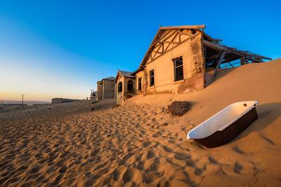 Empty bathtub in Kolmanskop ghost town, Namibia