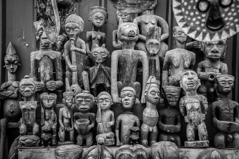 Tiki wooden carvings in Pointe-Noire, Republic of Congo