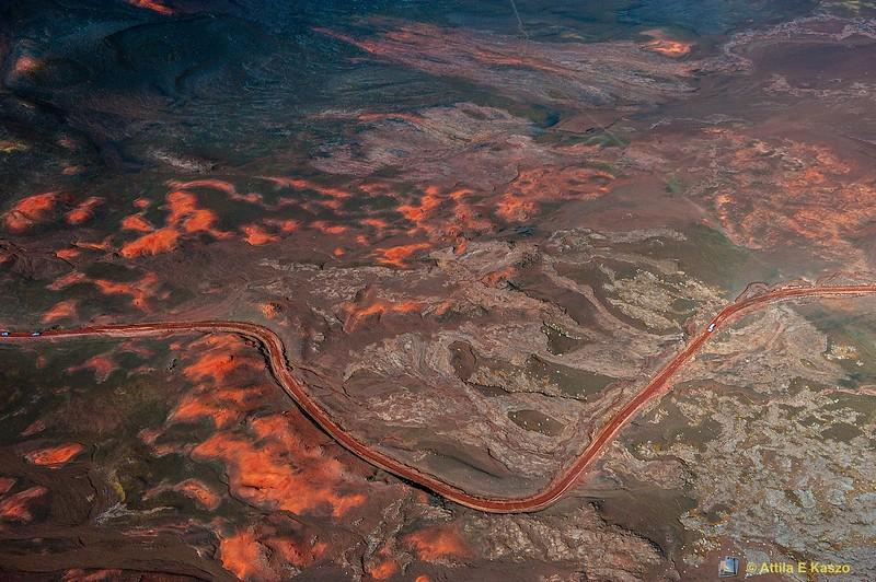 Aerial - Volcano / Couldren/ Roadway