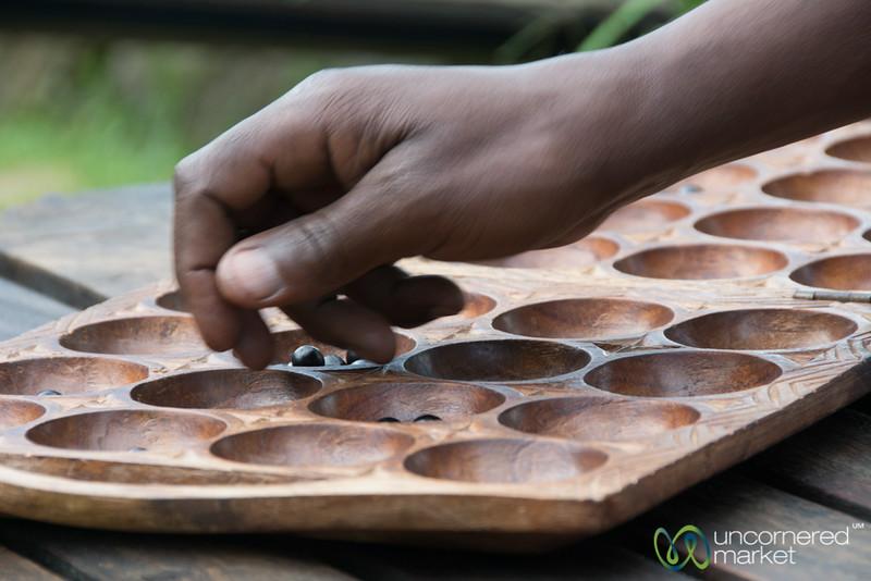 Playing Mancala on Edge of Twin Lakes - Musanze, Rwanda