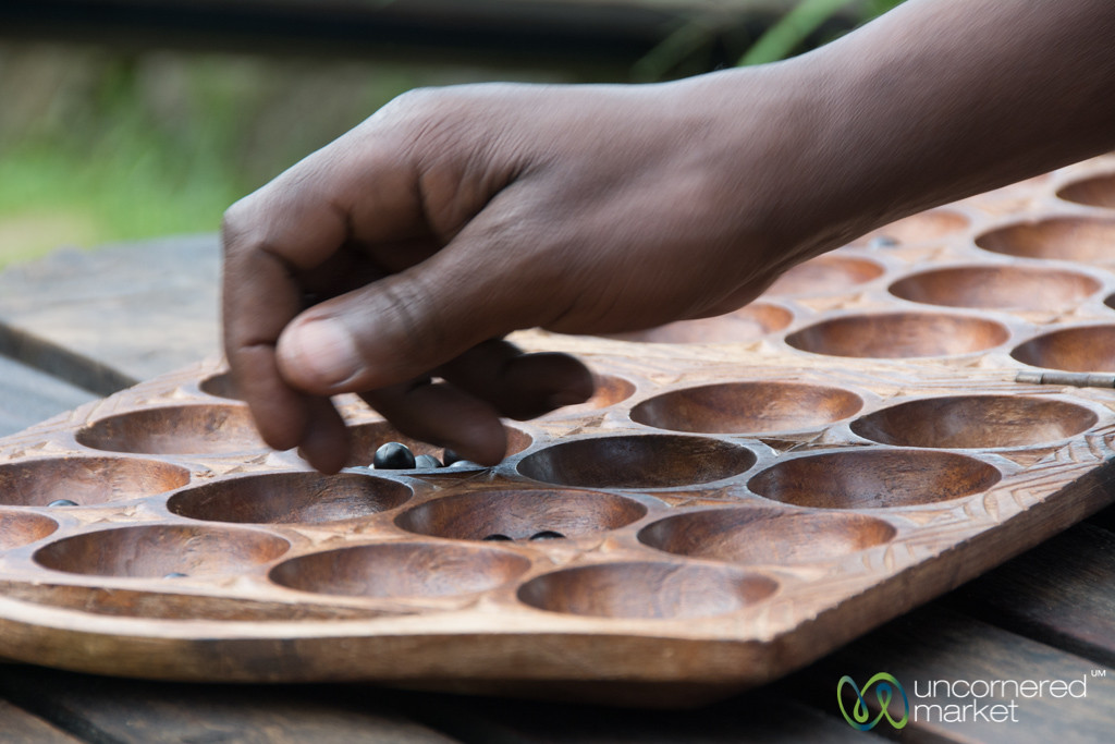 Playing Mancala on Edge of Twin Lakes - Musanze, Rwanda