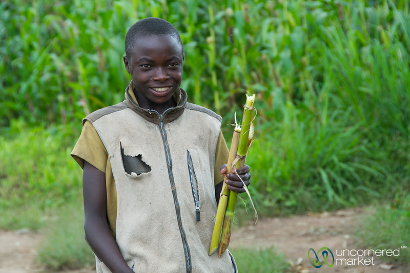Rwandan Boy with Sugarcane Snack - Musanze