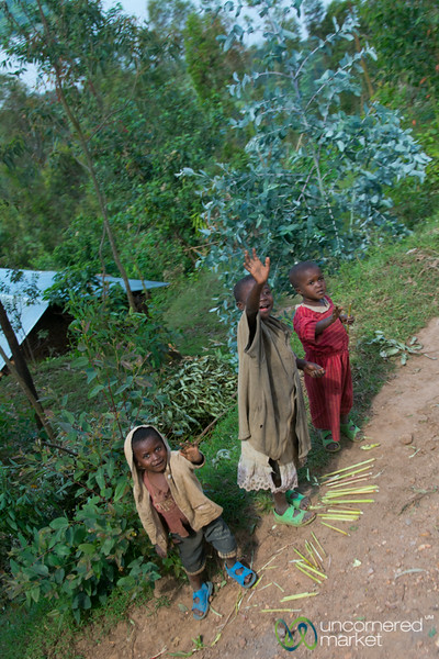 Rwandan Kids Waving on the Road - Musanze