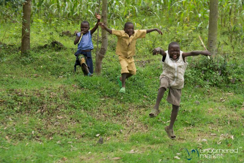 Excited Kids Near Musanze, Rwanda