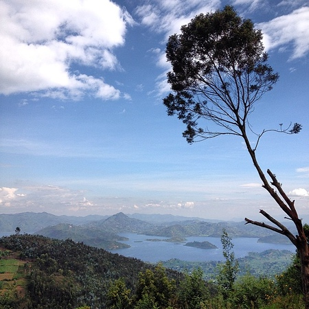 "Overlooking the ""Twin Lakes"" (Burera and Ruhondo) from Virunga Lodge in the hills outside Ruhengeri, Rwanda. via Instagram http://ift.tt/1igal1t"